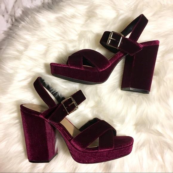 dark red block heel sandals